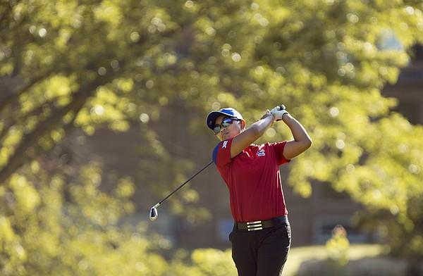 Kansas golfer Yupaporn Kawinpakorn tees off on the fourth hole on Monday, Sept. 8, 2014 during the Marilynn Smith Sunflower Invitational at Alvamar Golf Course. Nick Krug/Journal-World Photo