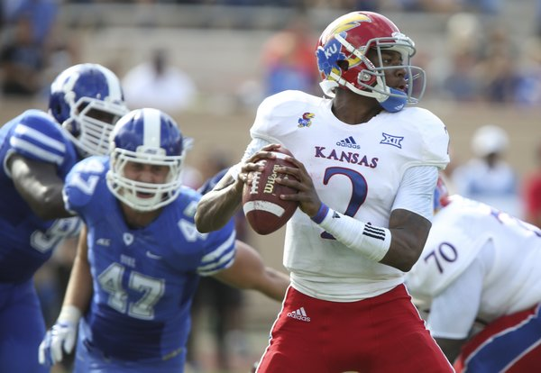 Kansas quarterback Montell Cozart looks to throw against Duke during the second quarter on Saturday, Sept. 13, 2013 at Wallace Wade Stadium in Durham, North Carolina.