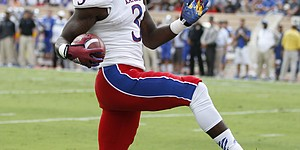 Kansas receiver Tony Pierson reacts after being ruled out of bounds after a catch during the first quarter on Saturday, Sept. 13, 2013 at Wallace Wade Stadium in Durham, North Carolina.