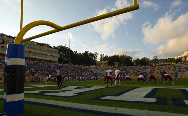 Montell Cozart and the Jayhawks are backed deep into their own territory during an offensive set in the fourth quarter on Saturday, Sept. 13, 2013 at Wallace Wade Stadium in Durham, North Carolina.