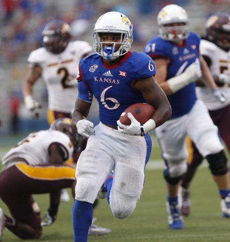 KU's final touchdown came from freshman running back Corey Avery (6) on Saturday September 20, 2014, at Memorial Stadium, as the Hawks came home the winner 24-10.