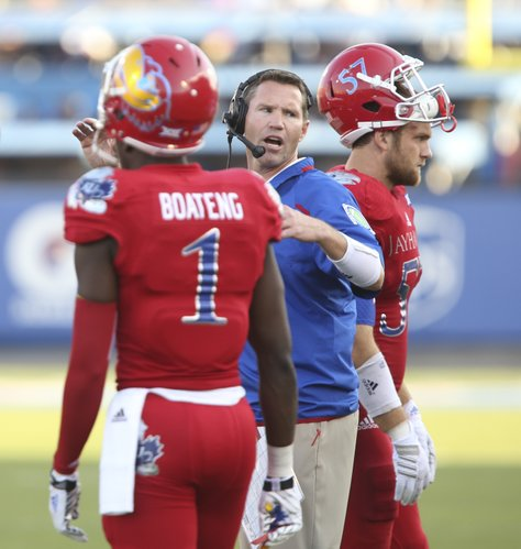Kansas defensive coordinator Clint Bowen will take over as interim head coach until a replacement for Charlie Weis is found.