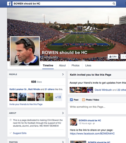 A screen shot of the pro-Clint Bowen Facebook page put together by KU fans.