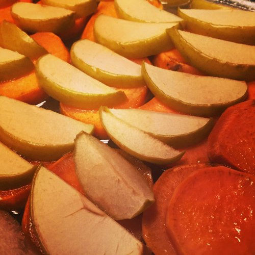 Sweet potatoes and apples make for the perfect fall anytime dish.