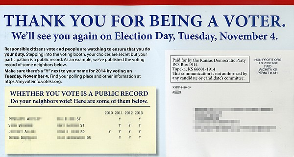 The back of a mailer sent out by the Kansas Democratic Party that has caused some voters to complain about an invasion of privacy. Names, addresses and voting records of recipients' neighbors (blurred out) are listed on the postcard.