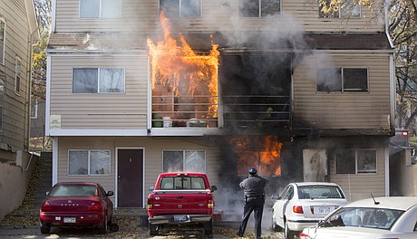 Lawrence Firefighters Respond To A Structure Fire At 1224 Ohio Around Noon  On Wednesday, Nov. 12, 2014. Flames Engulfed Several Apartments On The Back  Of ...