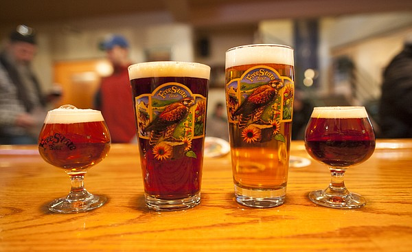 Beers at Free State Brewing Co., from left: IPA Winterfest, Ad Astra Ale, Wheat State Golden and Clan of the Kilt