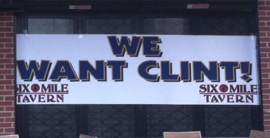 This banner supporting interim KU football coach Clint Bowen recently went up at Six Mile Tavern in West Lawrence.