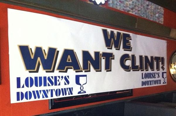 This banner, which shows support for interim KU football coach Clint Bowen, recently went up at Louise's Downtown on Mass Street.