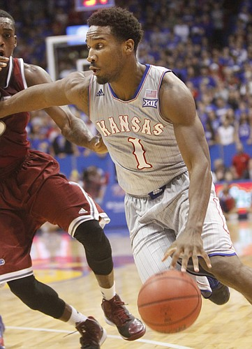 Kansas sophomore Wayne Selden Jr. drives to the basket against Rider in the Jayhawks 87-60 win Monday, November 24, 2014.