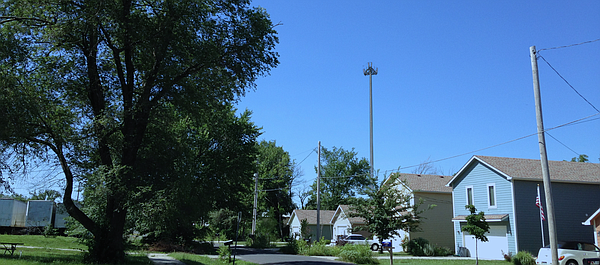 This photo simulation shows a proposed 120-foot-tall cell tower at 1725 Bullene Ave. in eastern Lawrence.