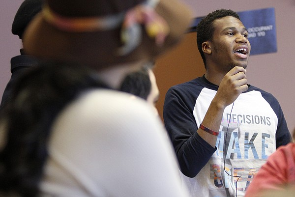 University of Kansas 2017-18 TrueKU coalition student body president Chancellor Adams is pictured speaking during a campus event in this 2014 Journal-World file photo.