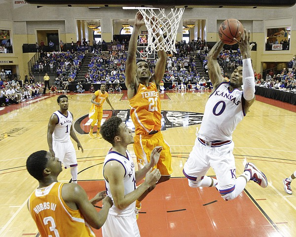 Kansas guard Frank Mason pulls away a rebound during the second half against Tennessee on Friday, Nov. 28, 2014 at the HP Field House in Kissimmee, Florida.