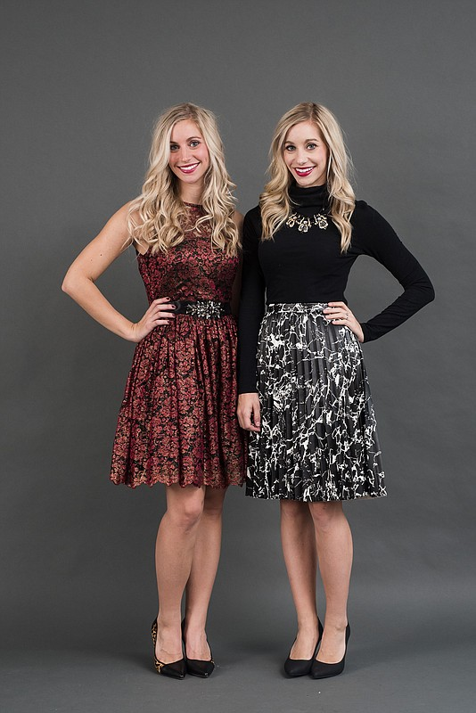 Elizabeth Kennedy's outfit (left): dress from Weaver's; shoes from Foxtrot. Emily Kennedy's outfit (right): Turtleneck shirt from Target; necklace from Hello Cheeseburger; skirt from Weaver's; shoes from Foxtrot.