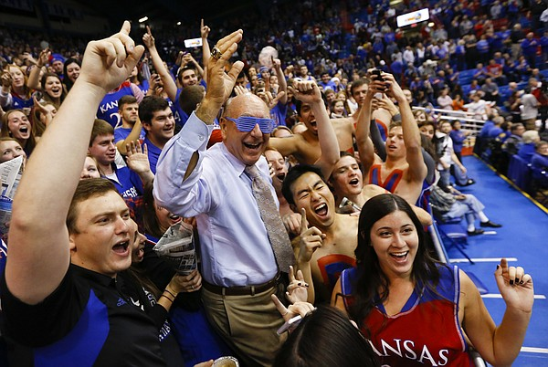 ESPN commentator Dick Vitale has some fun with the Kansas student section prior to tipoff against Florida on Friday, Dec. 5, 2014 at Allen Fieldhouse.