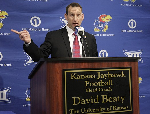 Kansas University's new head football coach, David Beaty, speaks at an introductory press conference Monday, Dec. 8, 2014, at the Anderson Family Football Complex. Beaty, the wide receivers coach and recruiting coordinator at Texas A&M, was hired by KU Friday.
