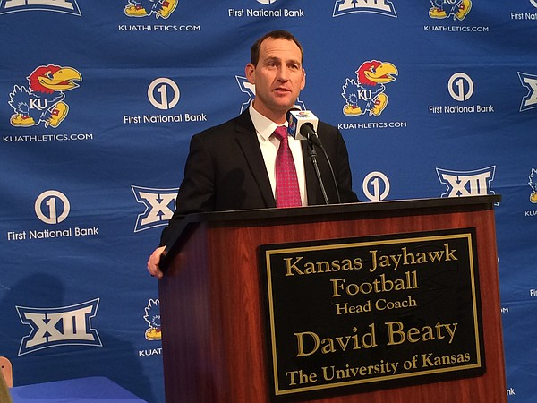 David Beaty is introduced as Kansas University football coach, Monday, Dec. 8, 2014.