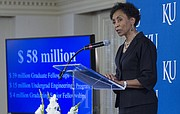 Kansas University chancellor Bernadette Gray-Little announces a $58 million gift from the estate of two late KU alumni, Madison 'Al' and Lila Self. The gift will go toward scholarships and fellowships for students in science, technology, engineering, mathematics, business and economics. The donation brings the Selfs' donations to a total of $106 million, the most in university history.
