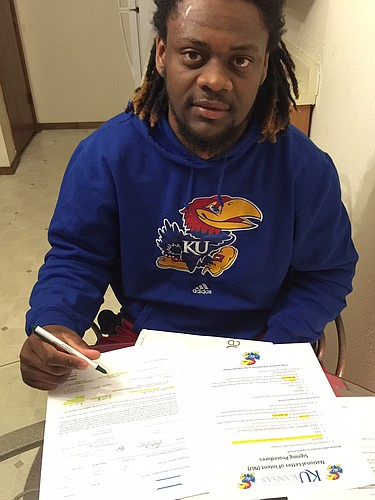 New KU cornerback Michael Mathis, from Kilgore College, was one of five players to make their commitments official this morning on mid-year transfer signing day.
