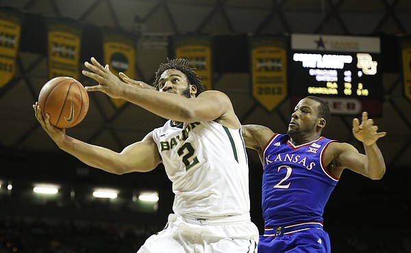 Baylor forward Rico Gathers (2) gets to the bucket past Kansas forward Cliff Alexander (2) during the first half on Wednesday, Jan. 7, 2014 at Ferrell Center in Waco, Texas.