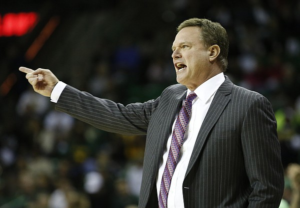 Kansas head coach Bill Self gets at his defense during the first half on Wednesday, Jan. 7, 2014 at Ferrell Center in Waco, Texas.