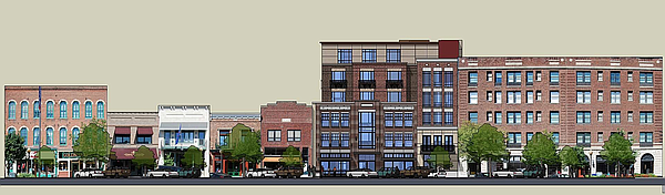 A rendering of a planned expansion of the Eldridge Hotel in the 700 block of Massachusetts. Rendering courtesy of Paul Werner Architects and City of Lawrence.