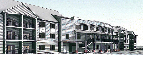 One view of a proposed 76-unit independent living facility at Pioneer Ridge in West Lawrence. Photo courtesy Midwest Health and City of Lawrence.