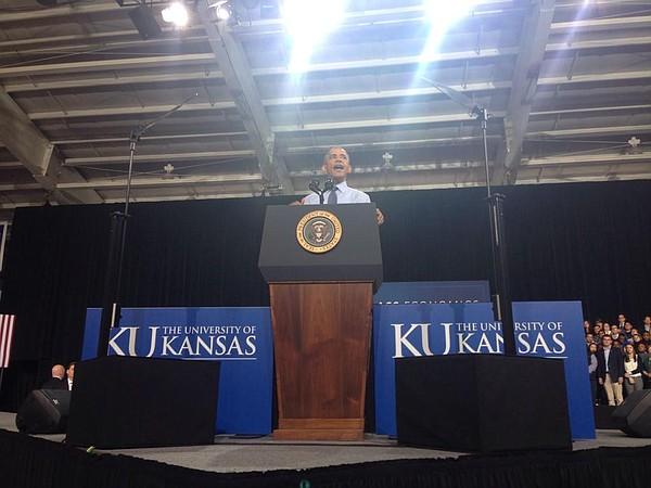 President Barack Obama speaks at Kansas University, Thursday, Jan. 22, 2015.