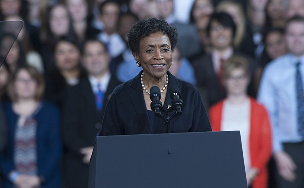 Kansas University Chancellor Bernadette Gray-Little speaks before President Barack Obama delivers a speech Thursday, Jan. 22, 2015, to a crowd gathered inside the Anschutz Sports Pavilion at KU.