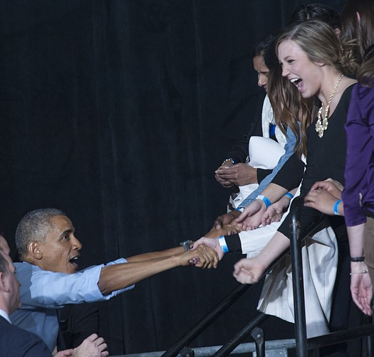 President Barack Obama shakes hands with the crowd after a speech Thursday, Jan. 22, 2015, at Anschutz Sports Pavilion on the campus of Kansas University.