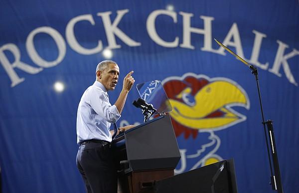 President Barack Obama gives remarks on Thursday, Jan. 22, 2015 at Anschutz Pavilion on the campus of Kansas University in Lawrence, Kan.
