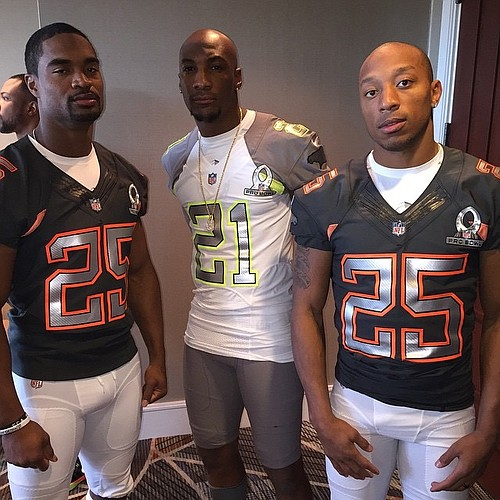 Former Jayhawks (L to R) Darrell Stuckey, Aqib Talib and Chris Harris at this year's Pro Bowl in Arizona. (Photo courtesy of Harris)