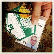 My White House Press Pool pass and my Journal-World ID  badge.