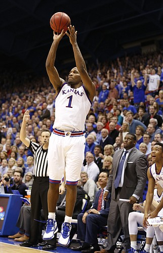 Kansas guard Wayne Selden Jr. (1) pulls up for a three from the corner during the second half on Monday, Feb. 2, 2015 at Allen Fieldhouse.