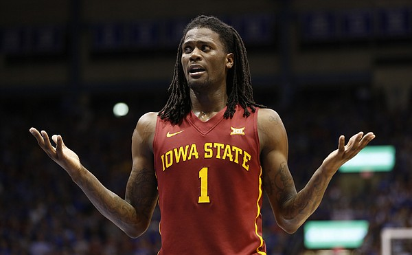 Iowa State forward Jameel McKay (1) questions a foul called against him during the second half on Monday, Feb. 2, 2015 at Allen Fieldhouse.