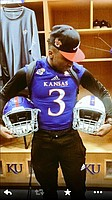 New KU cornerback Marnez Ogletree during his official visit to campus. (Twitter photo)