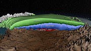 A map showing layers in the Greenland ice sheet. Researchers from KU-based National Science Foundation Center for Remote Sensing of Ice Sheets (CReSIS) helped enable the first-ever comprehensive map of the country's ice.