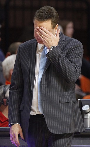 Kansas head coach Bill Self shows his frustration after a string of turnovers by the Jayhawks during the second half on Saturday, Feb. 7, 2015 at Gallagher-Iba Arena.