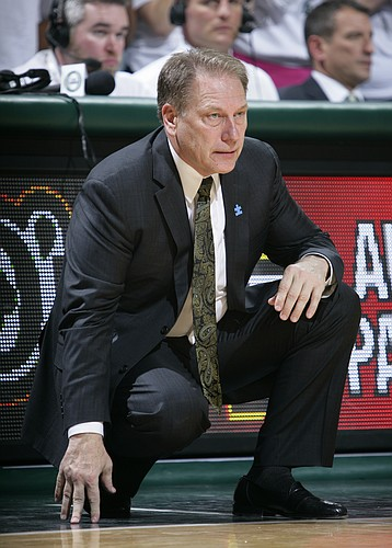 Michigan State coach Tom Izzo watches the action during the second half of an NCAA college basketball game against Illinois, Saturday, Feb. 7, 2015, in East Lansing, Mich. Illinois won 59-54. (AP Photo/Al Goldis)