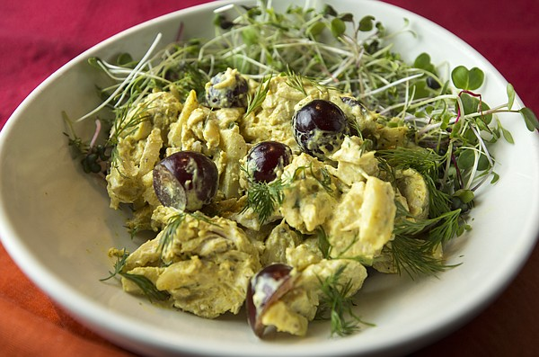 Curried Chicken Salad Over Microgreens