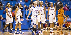 Kansas freshman Lauren Aldridge (3) walks off the court following the Jayhawks' loss to Texas Saturday at Allen Fieldhouse.