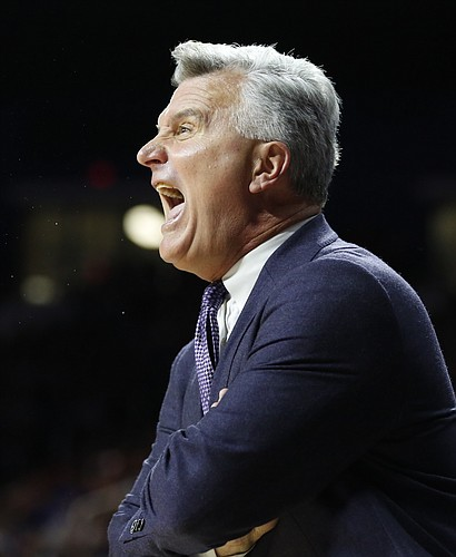 Kansas State head coach Bruce Weber gets heated during the first half, Monday, Feb. 23, 2015 at Bramlage Coliseum.