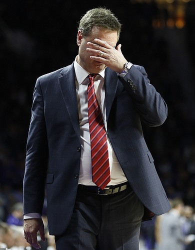 Frustrated, Kansas head coach Bill Self wipes his face after a late Kansas State bucket during the second half, Monday, Feb. 23, 2015 at Bramlage Coliseum.