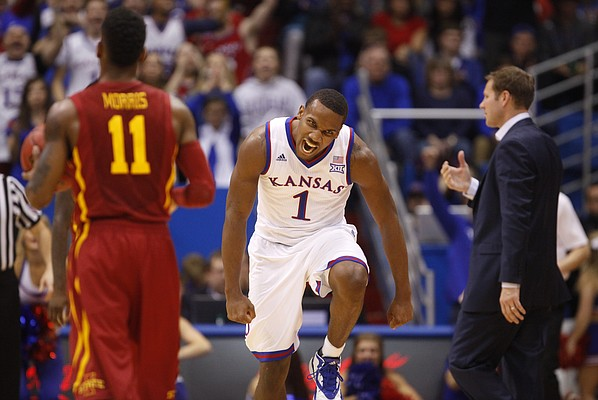 Kansas guard Wayne Selden Jr. (1) roars at the Jayhawks' bench after hitting a three against Iowa State during the second half on Monday, Feb. 2, 2015 at Allen Fieldhouse.