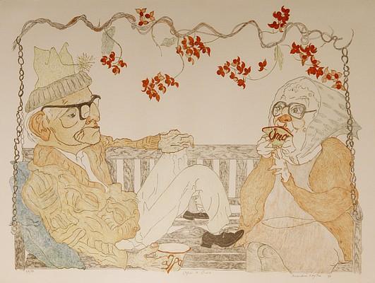 """Opa & Oma,"" lithograph print, by Elizabeth ""Grandma"" Layton"