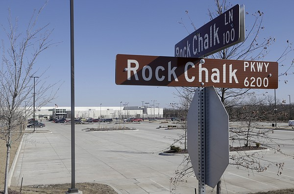 Concrete infrastructure is shown outside Sports Pavilion Lawrence at Rock Chalk Park.