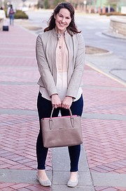 Clothing details: Cole Haan shoes, $100; Hue pants; shirt, Ann Taylor Loft, $40; jacket, Cole Haan, gift from boyfriend; Coach purse, $280.