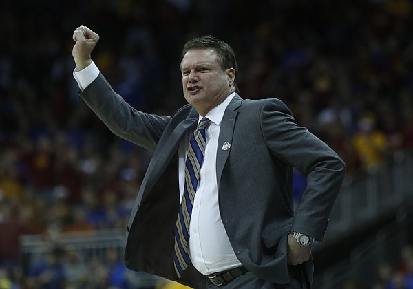 KU coach Bill Self signals to the Jayhawks in the Jayhawk's 70-66 loss to Iowa State in the championship game of the Big 12 Tournament Saturday.
