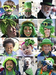 Pictured is a collage of images of attendees from Tuesday's downtown Lawrence St. Patrick's Day Parade. Top row, from left, are Mason Kane, 11, Eudora, Mike Beerbower, Emporia, and Kevin Griffin, Lecompton. Second row, from left, are Renee Gallagher, Topeka, Shummer Roddick, DeSoto, and Kindred Curry, 13, Lawrence. Third row, from left, are Amare Dawit, 3, Lawrence, Sophia Saline, 11 months, Lawrence, and Preston Warbritton, 7, Oskaloosa. Bottom row, from left, are Dre Veloz, 5, Holton, Baxter, a Pointer mix, and Melissa Jolley, McLouth.