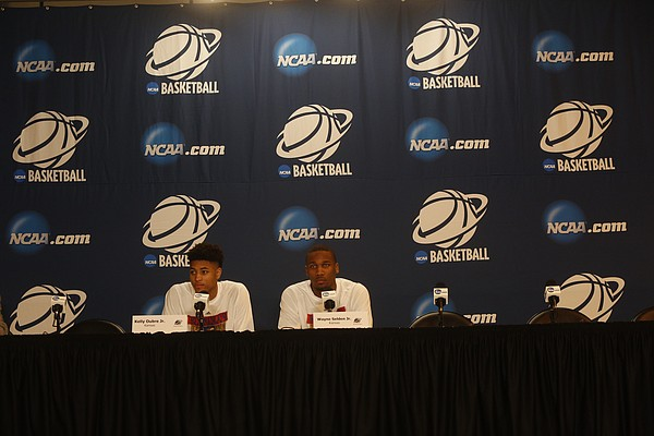 Kansas guards Kelly Oubre, Jr. and Wayne Selden Jr. answer questions during a press conference at Centrurylink Center in Omaha, NE. Thursday March 19 2015.
